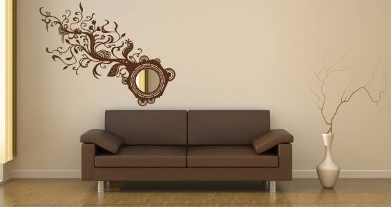 Acrylic Wall Mirror floral branch acrylic miror and vinyl | dezign with a z