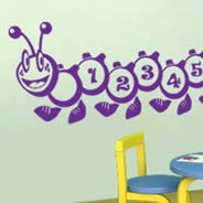 1 to 10 Numbers Caterpillar wall decals