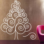 Christmas Swirl Tree wall decal