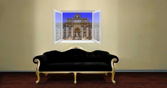 Trevi Fountain Faux Window Murals