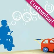 Personalized  Lettering Tricycle Bubble wall decals