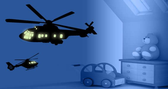 Helicopters glow in the dark wall decal