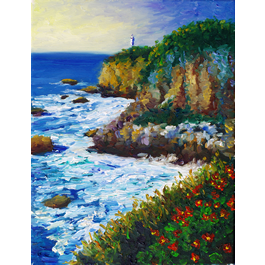 Normandy Cliffs on framed canvas