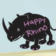 Happy Rhino chalkboard wall stickers