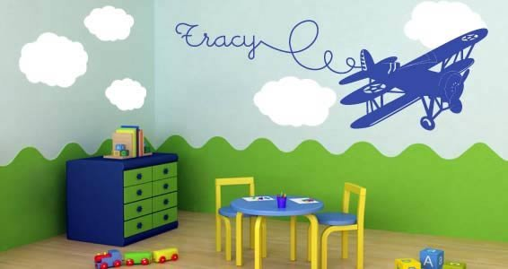 Custom Lettering Airplane wall stickers