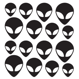 Alien Heads wall decals pack