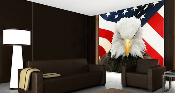 American eagle wall paper dezign with a z for Eagle wall mural