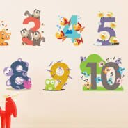 Animal Numbers wall decal