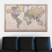 Old Style World Maps wall canvas