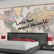 Dry Erase Old Style World Maps decals