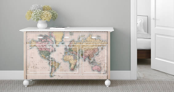 Old World Map Dry Erase Furniture Decals - Old World Map Dry Erase Furniture  Decals Dezign - Antique Furniture Decals Antique Furniture