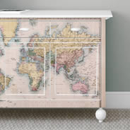 Old World Map Dry Erase Furniture Decals