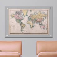 Old Style World Map Plexiglass Stand Off