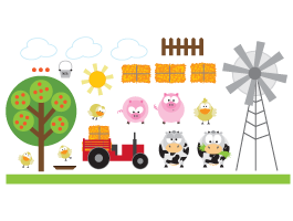 Barn Friends II wall decals pack