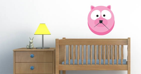 Barn Piggy wall decal clock