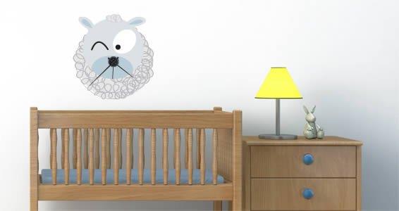 Sheep Barn Friend Clock wall decal