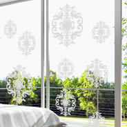Damask frosted window decals