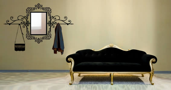 Baroque Rectangle Mirror coat rack