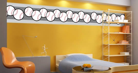 Baseball vinyl wall borders