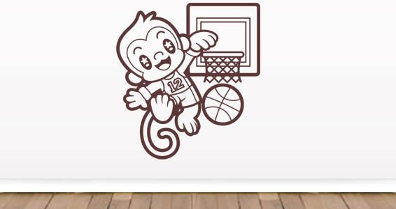 Monkey basketball wall decals