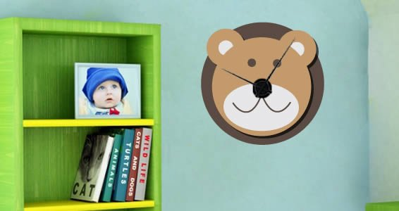 Noah's Ark Bear wall clock decal (mechanism included)