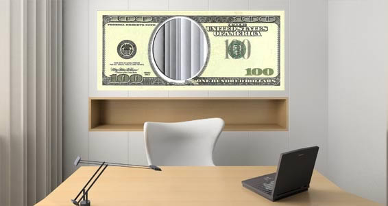 100 Dollar Benjamin vinyl and acrylic mirror