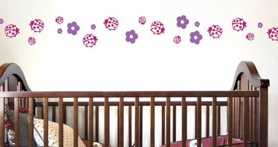 Bicolor Lady Bugs wall decals