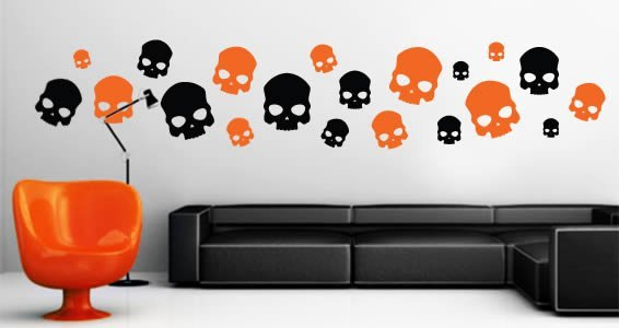 Bicolor Skull wall decal