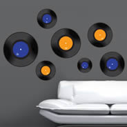 Bicolor Vinyl Records wall decals