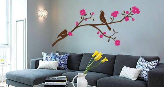 Birds singing on a branch wall decals