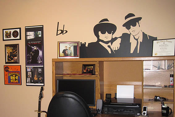 Decorative wall tattoos for music center, by Charlene