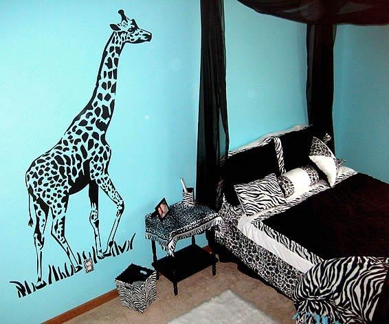 Blue zebra print room decorations for Blue zebra print bedroom ideas