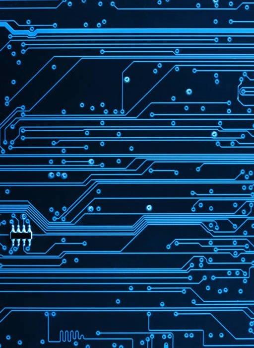 blue computer circuit wall murals