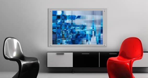 Blue Mosaic Art Dry Erase Plexiglass Stand Off