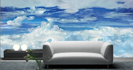 Blue sky clouds wall mural dezign with a z for Cloud wall mural