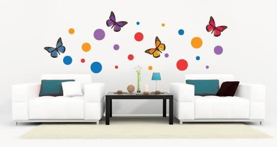 Dots Butterflies Wall Decals