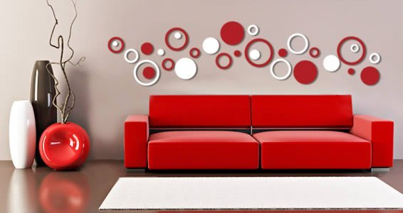 Red Circle Wall Stickers