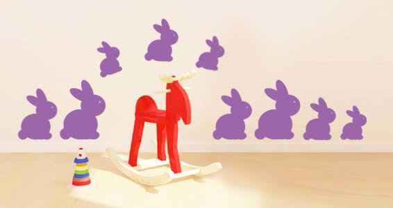 Cute Bunnies Pack wall decal