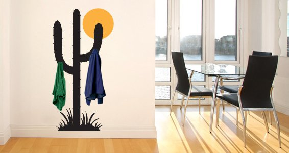 Cactus coat rack wall stickers