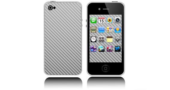 Silver Carbon Fiber iPhone decals skin
