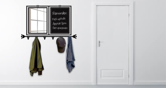 All In One Chalkboard Mirror Rack wall decal