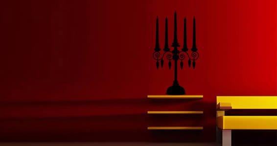 Baroque Candlestick wall appliques