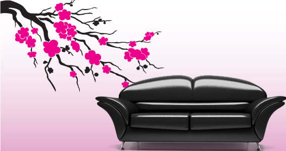 Cherry blossom decorative wall stickers