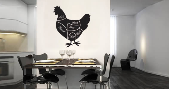 Chicken Cuts wall decals