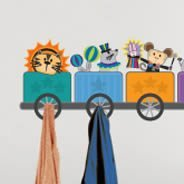 Circus Train decal coat racks