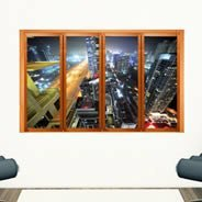 Modern City Faux Window Murals