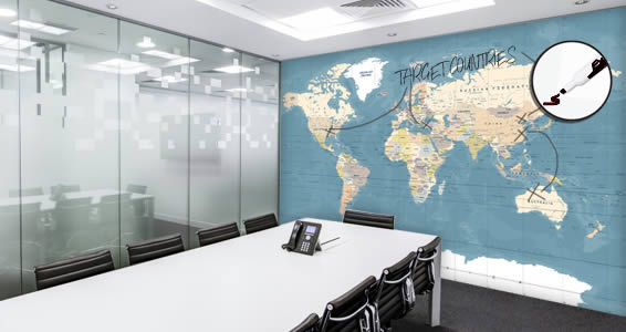 World Map with Country Names Dry Erase on