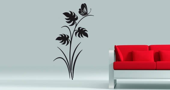 Butterfly floral wall decals
