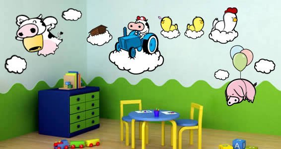 Cloud Farm wall cut outs by ZaZ