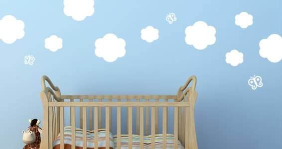 Clouds and Butterflies wall decals